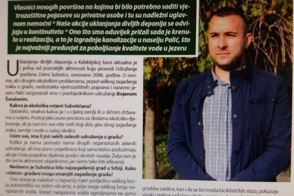 Intervju predsednika UG Zeleni Subotice za nedeljnik Hrvatska Riječ.